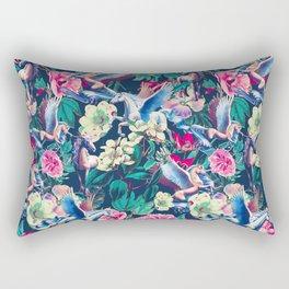 Unicorn and Floral Pattern Rectangular Pillow