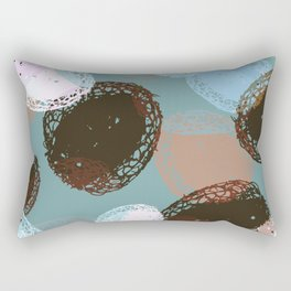 Graphic Seed Pods Turquoise and Brown Rectangular Pillow