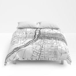 Vintage Map of Grand Rapids Michigan (1873) BW Comforters