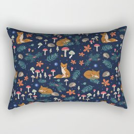 Fox and Hedgehog in Toadstool Woods In Blue Rectangular Pillow
