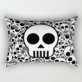 Skull Texture Black White Surface Rectangular Pillow