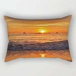 Sailboats returning to docks at sunset...Toes Beach Rectangular Pillow