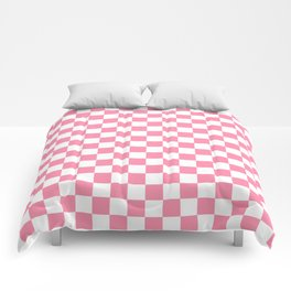 Small Checkered - White and Flamingo Pink Comforters