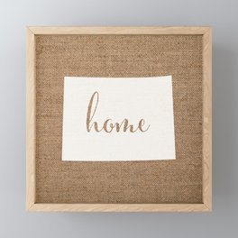 Colorado is Home - White on Burlap Framed Mini Art Print