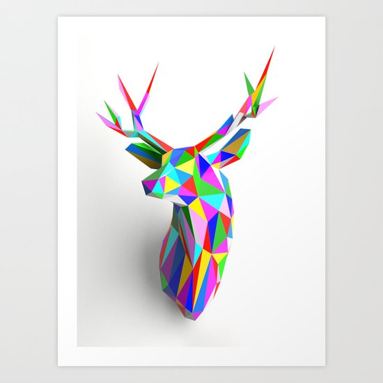 3D Stag Art Print