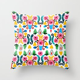 Colorful oriental watercolor floral pattern. Throw Pillow