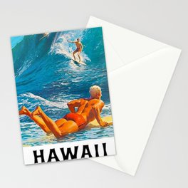 Hawaiian Surfer's Vintage Advertisement Poster Stationery Cards