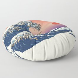 The Great Wave of Pug Floor Pillow