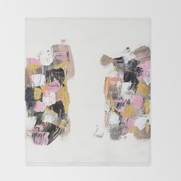 Modern abstract acrylic paint pink black gold salmon brushstrokes 2 parts Throw Blanket