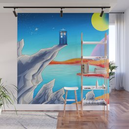 tardis space at starry night Wall Mural