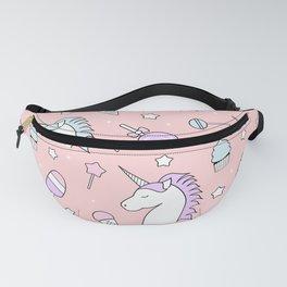 pattern background unicorn, candy, lollipop, ice cream, stars Fanny Pack