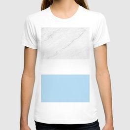 Marble White Light Blue T-shirt