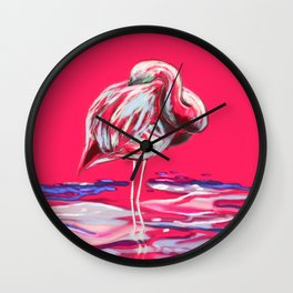 Sleeping Flamingo Wall Clock