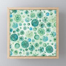 Flowers in Circles | Green Framed Mini Art Print