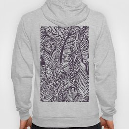 Purple white hand painted tribal bohemian feathers pattern Hoody