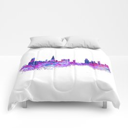 Chicago Watercolor Skyline 2 Comforters