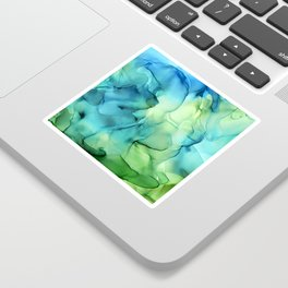 Blue Green Spring Marble Abstract Ink Painting Sticker
