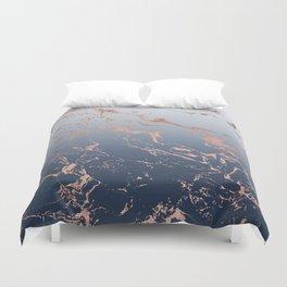 Modern grey navy blue ombre rose gold marble pattern Duvet Cover