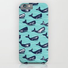 Whales in Waves - blue iPhone 6 Slim Case
