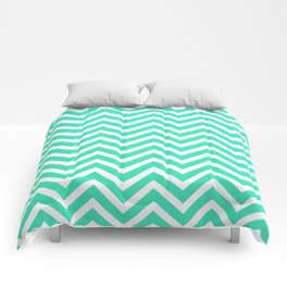 Chevron Pattern - Mint and White Comforters