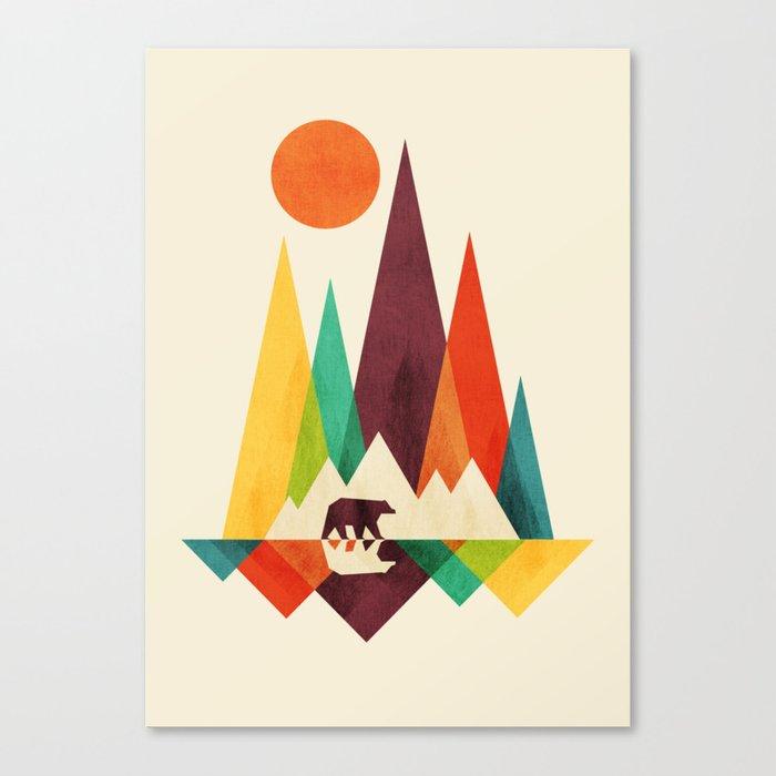 Bear In Whimsical Wild Canvas Print