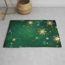 Gold Snowflakes on a Green Background Rug