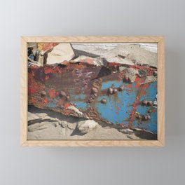 COLLAGE OF DECAY BOAT WRECK ABSTRACT Framed Mini Art Print