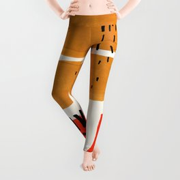 Mid Century Modern Abstract Minimalist Retro Vintage Style Fun Playful Ochre Yellow Ochre Orange  Leggings