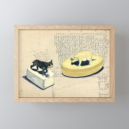 Vintage Pig and Dog Celluloid Boxes in Gouache Framed Mini Art Print
