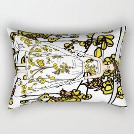 Golden Audrey Floral Rectangular Pillow