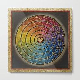 Earth Rainbow Mandala - Acrylic with Swarovski crystals w/ gold leaf Metal Print