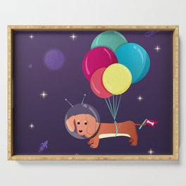 Galaxy Dog with balloons Serving Tray