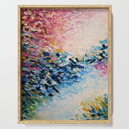 PARADISE DREAMING Colorful Pastel Abstract Art Painting Textural Pink Blue Tropical Brushstrokes Serving Tray
