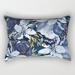 Navy Blue & Gold Watercolor Floral Rectangular Pillow