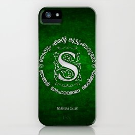 Joshua 24:15 - (Silver on Green) Monogram S iPhone Case