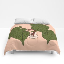 Begonia Houseplant Illustrated Print Comforters
