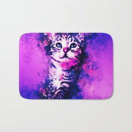 pianca baby cat kitten splatter watercolor purple pink Bath Mat