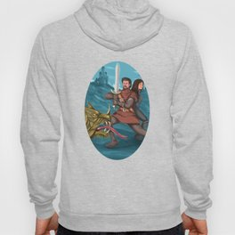 Cavalier and Lady Fighting Dragon Oval Watercolor Hoody