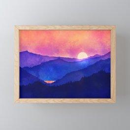 Cobalt Mountains Framed Mini Art Print
