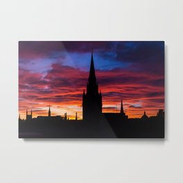 Silhouette of skyline at sunset in Aberdeen in Scotland Metal Print