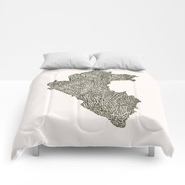 Lettering map of Perú Comforters