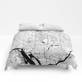 Washington Black and White Map Comforters