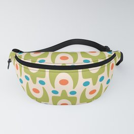 Mid Century Modern Abstract Pattern 545 Green Turquoise and Orange Fanny Pack