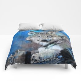 Blue Wolf Wildlife Mixed Media Art Comforters