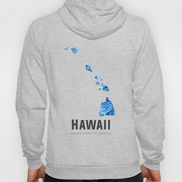 Hawaii - State Map Art - Abstract Map - Blue Hoody