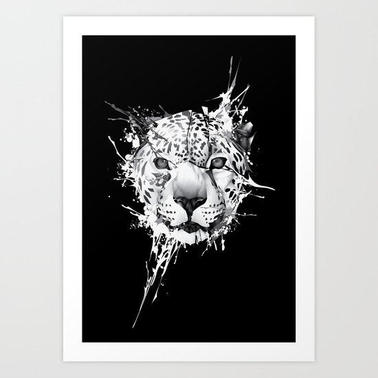 Leopard on black background Art Print