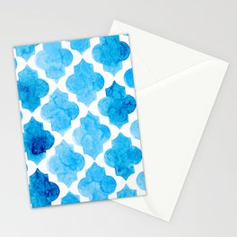 Watercolor quatrefoil pattern in bright blue Stationery Cards
