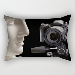 Plaster head and professional photo camera Rectangular Pillow