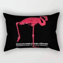 Vintage Pink flamingo Munich Zoo travel ad Rectangular Pillow