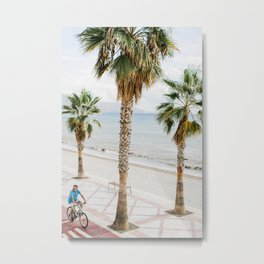 Cycling along the Beach with Palm Trees in Alicante, Spain. Minimalistic print - fine art photography Metal Print